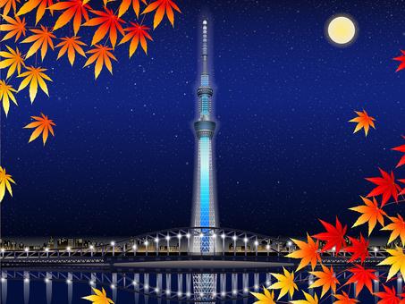 Autumn sky tree autumn leaves · full moon background · frame
