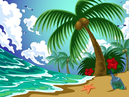 Sandy beach and palm tree