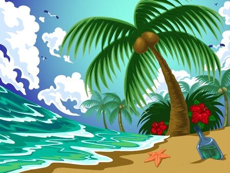 沙灘和棕櫚樹
