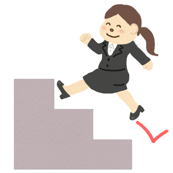 A woman in a suits running up the stairs