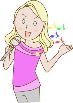 外國女性在卡拉OK歌唱