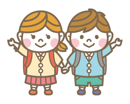 Elementary school boy & girl