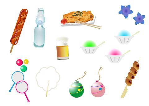 節日夏天攤位食物插圖