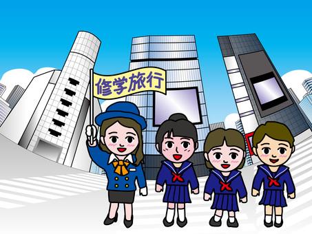 Tokyo sightseeing (2) Shibuya intersection school trip