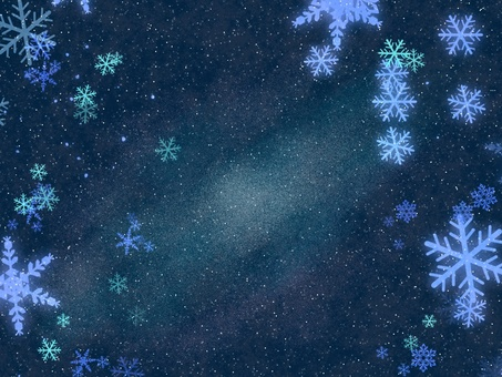 Starry sky and snow crystal
