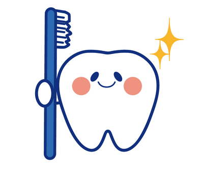 Teeth with a blue toothbrush