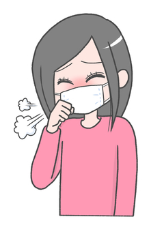 Woman coughing with a mask
