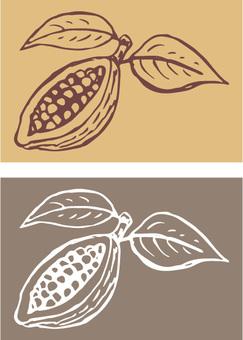 Cacao Fruit Free Hand Blackboard Art Wind