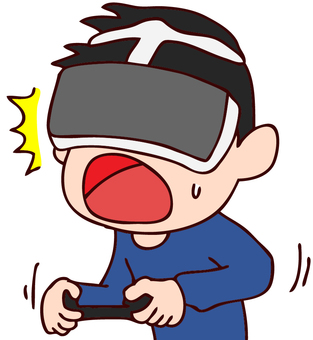 Illustration of a boy playing in a VR game
