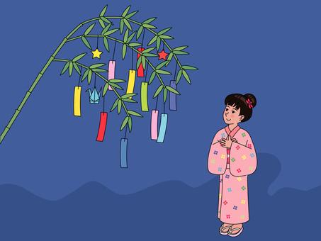 Tanabata and a girl