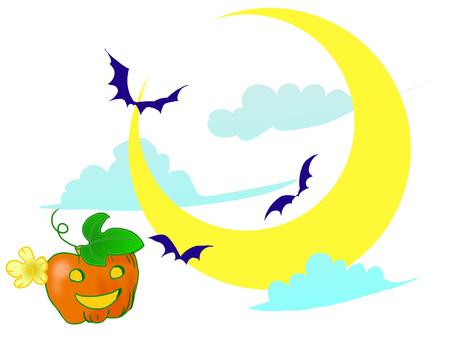 Halloween moon pumpkin white