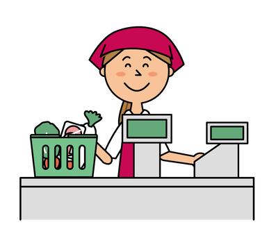 Supermarket cashier female clerk