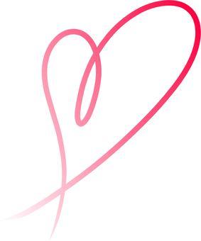 Heart ribbon red gradation