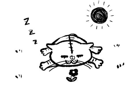 Sleeping cats monochrome