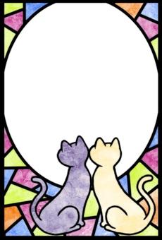 猫フレーム 和紙風