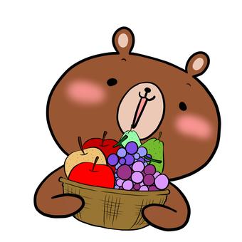 과일 바구니와 곰 농다