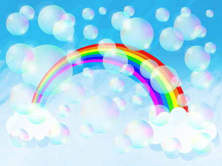 Natural rainbow and soap bubble filled