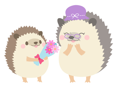 【Senior Citizen's Day】 Hedgehog Illustration