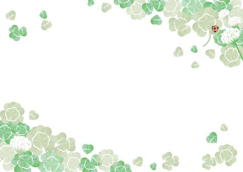 蒼白框架的三葉草和白三葉草