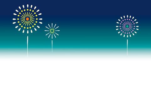 【夏】夜空に浮かぶ花火背景フレーム