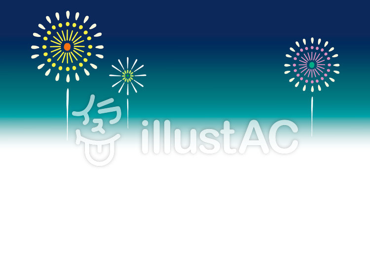 【夏】夜空に浮かぶ花火背景フレームのイラスト