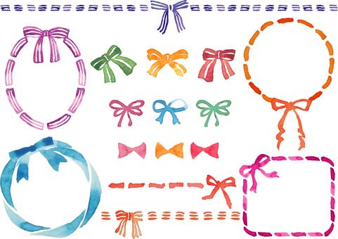 Watercolor-style ribbon material