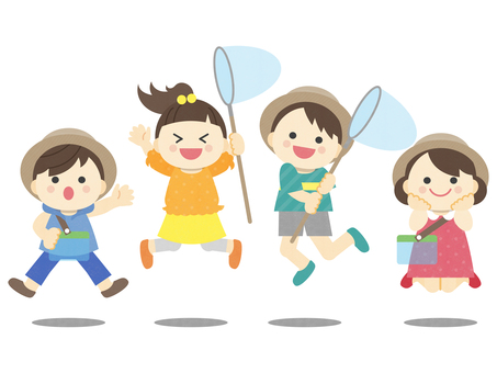 Summer vacation _ children _ illustration of insect removal