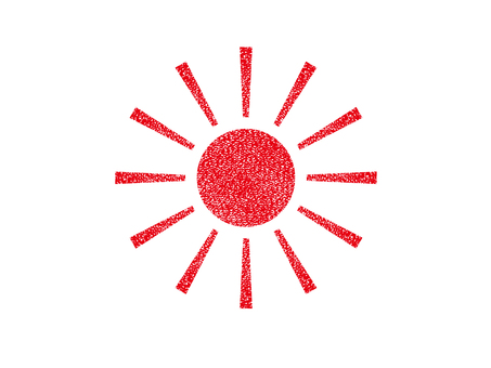 Stamp-style sun (red)