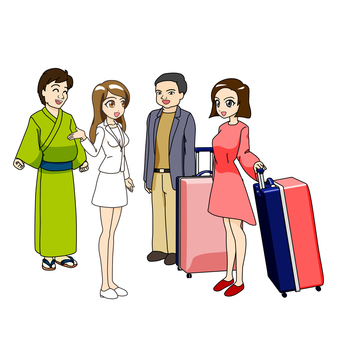 Female interpreters and foreign tourists, East Asia