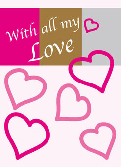 Pink Heart love message card