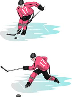 Ice hockey skater ice