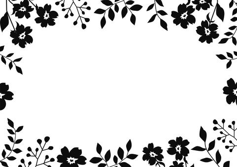 簡單可愛的黑白植物框架
