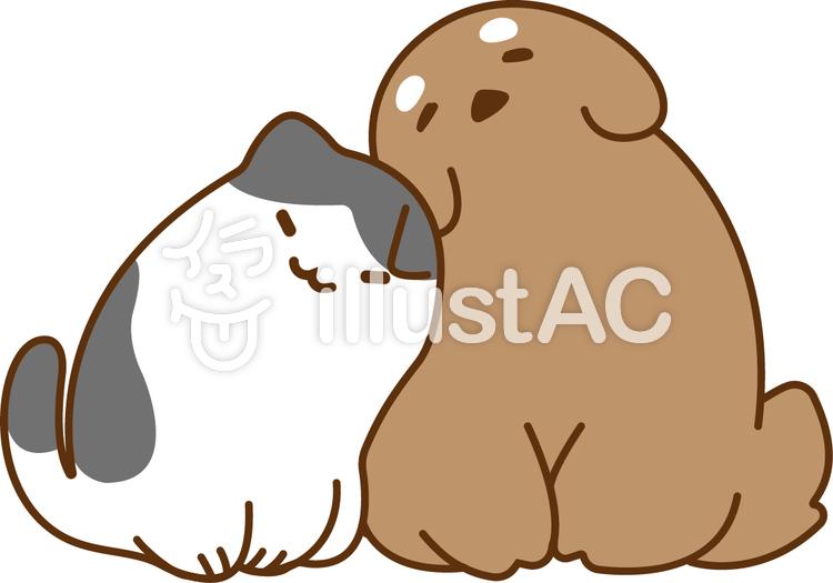 仲良しラブラブな犬とぶち猫イラスト No 1015878無料イラストなら