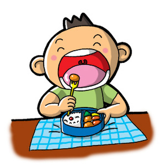 Boy eating lunch