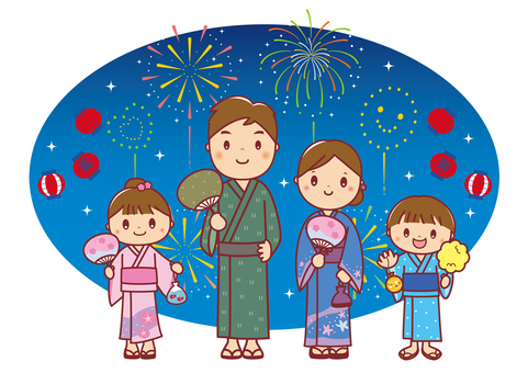 Background illustration of a family of four in yukata
