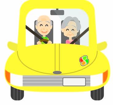 Elderly driver couple ☆ driving man