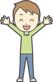 男の子グリーン長袖-105-全身