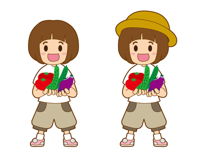 A little girl with vegetables