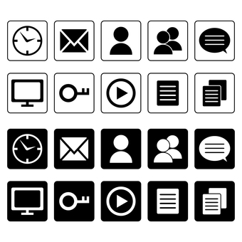 시계, 메일, 사람 등의 비즈니스 아이콘