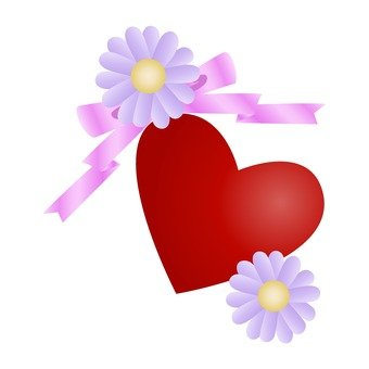 Gerbera and heart and ribbon