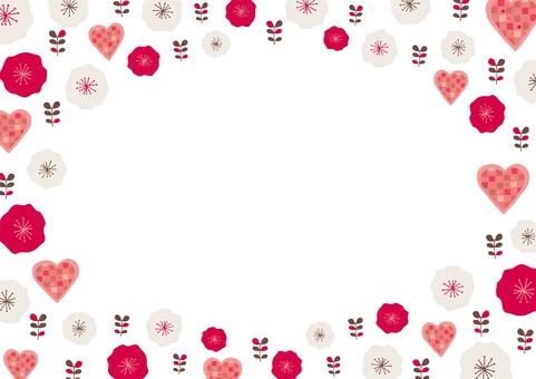 花とハートのフレーム