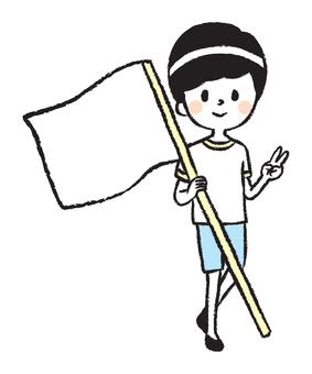 一個男孩抱著國旗的插圖