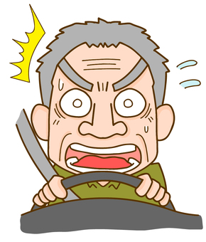 Elderly man getting nervous while driving