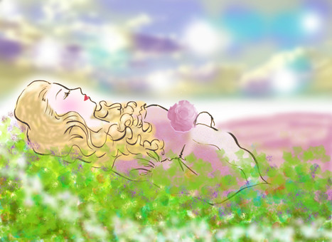 A woman sleeping in the meadow