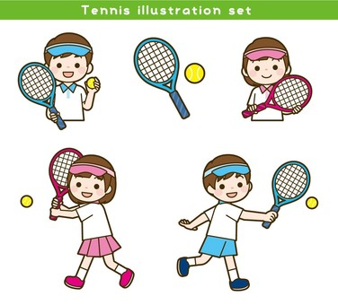 Tennis illustration set
