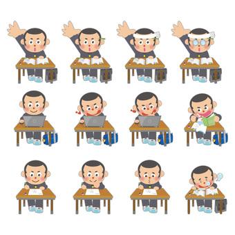 Male student studying illustration set (Shobo)