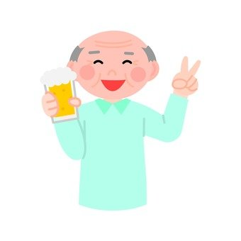 Senior men drinking beer