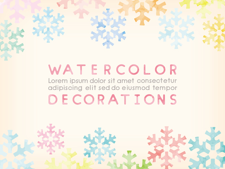 Watercolor touch upper and lower frame: snow crystal 2