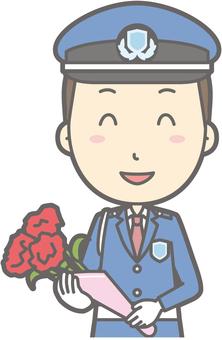 Security guard - bouquet - bust