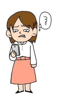 Irritated woman looking at a smartphone